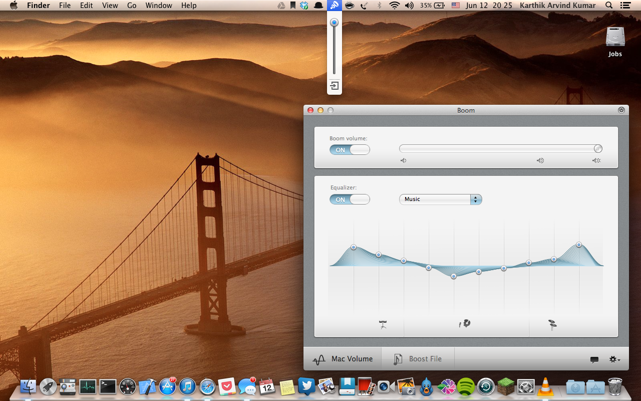 The Boom vertical volume side bar (in the menu bar) and The Graphic Equalizer.